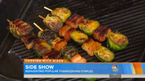 Giada De Laurentiis_Bacon bourbon Brussels sprout skewers